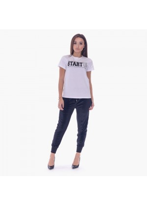 T-shirt domma con stampa strass