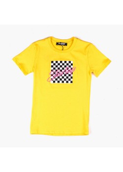 T-Shirt unisex con stampa a scacchi