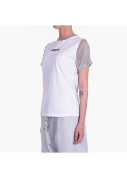 T-Shirt donna con collo e manica in lurex