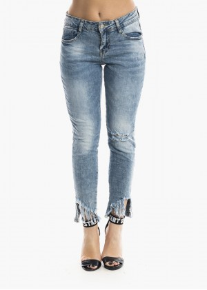 Jeans Mid Rise Frayed - P6040