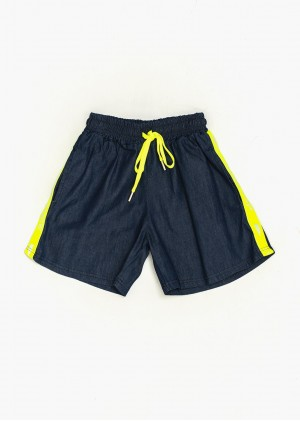 Shorts Jeans con bande fluo