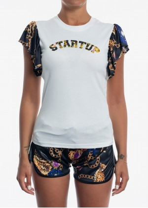 T-Shirt con Rouches All-Over